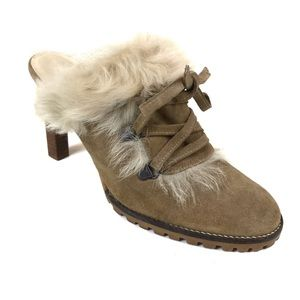 Coach Kristy Suede Shearling Fur Trim Booties Sz 8